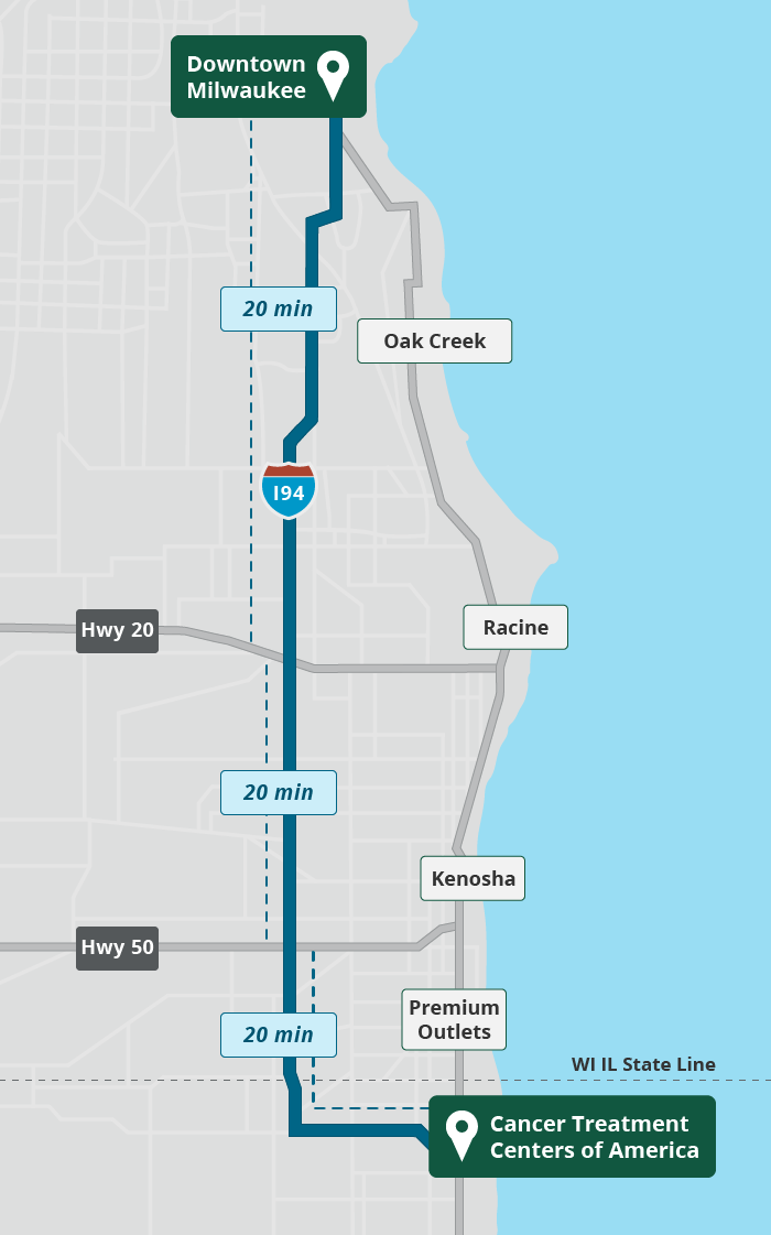Map from Milwaukee to Zion