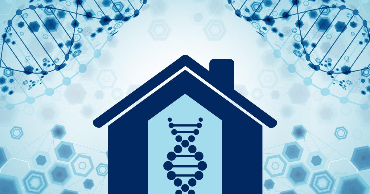 Illustration of DNA strands inside a home