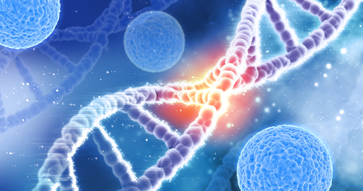 Microscopic illustration of cancer and DNA