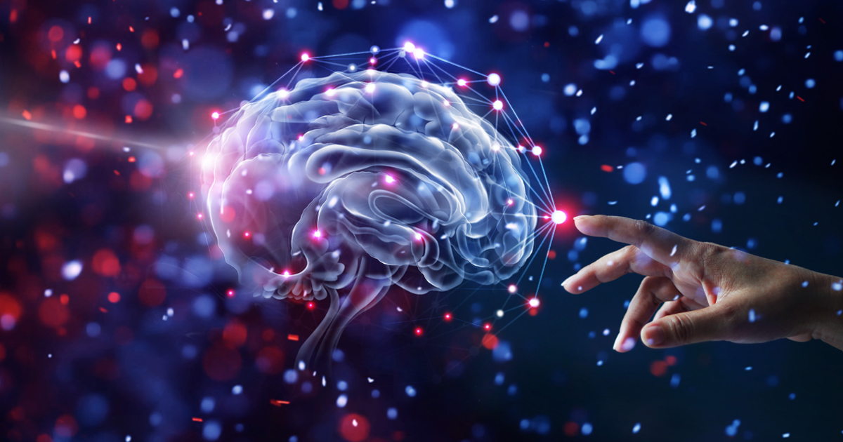 Illustration of a brain being touched by a human hand