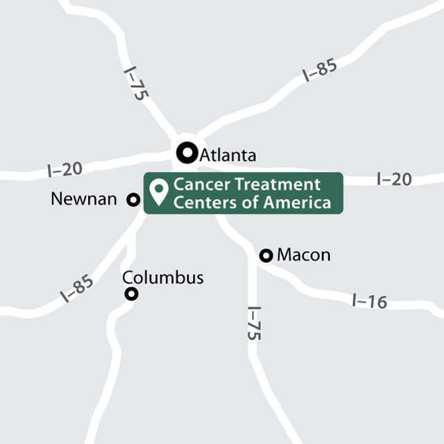 A map showing the location of the Atlanta hospital