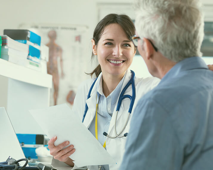 A patient in a consultation with a physician